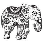 черно белый эскиз с слоном