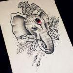 Эскиз слона с украшениями