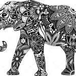 Эскиз слона из узоров