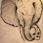 Эскиз голова слона с хоботом и черепом