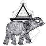 Современный эскиз слона в стиле геометрия
