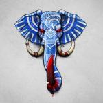Эскиз слона с красными глазами и ножем в хоботе