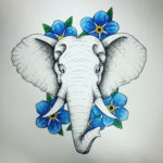 Эскиз слона с цветами