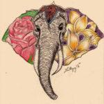 Эскиз слона сушами в виде цветов