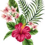 Эскиз тату с пальмовой веткой и цветами