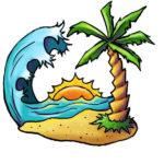 Эскиз тату с пальмой на острове
