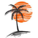 Эскиз тату с пальмой и солнцем