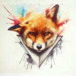 Эскиз татуировки морды любопытной лисы