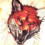 Эскиз татуировки морды лисы с оскалом