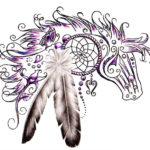 Эскиз тату лошади в индейском стиле