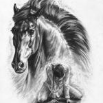 Эскиз тату лошади в стиле реализм