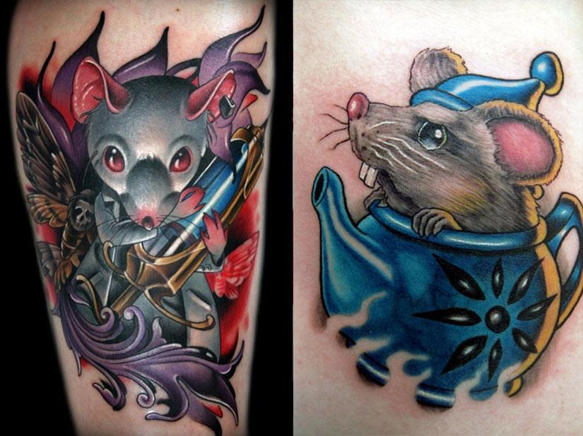 Интересная татуировка с крысой