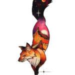 Женский эскиз татуировки лисы