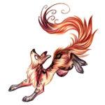 Женский эскиз татуировки пластичной лисы