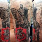 Татуировка Князя Юрия Долгорукого на коне и герб