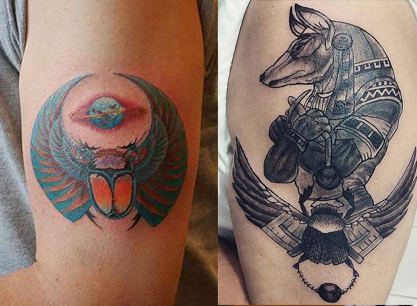 Мужская татуировка с скарабеем