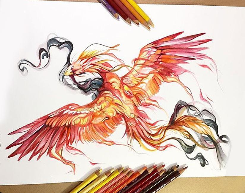 Набросок эскиза птицы феникс