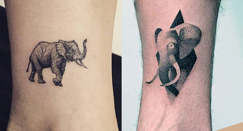 Небольшая тату слона на ноге