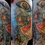 Татуировка воина и коней