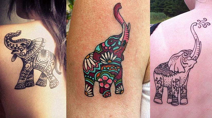 Татуировка слона с поднятым хоботом