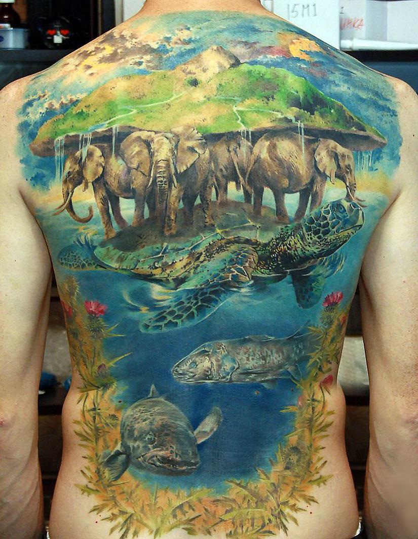 татуировка слоны на черепахе
