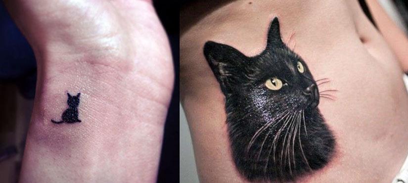 Тату черной кошки