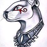 Эскиз Египетской татуировки кошка