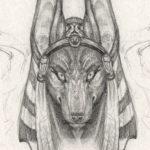 Эскиз Египетской татуировки Анубис