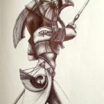 Эскиз Египетской татуировки бог Гор