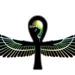 Эскиз Египетской татуировки крест с крыльями