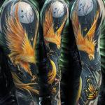 Тату птицы феникс рукав