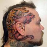 Тату крысы на голове