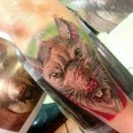 Тату с головой крысы