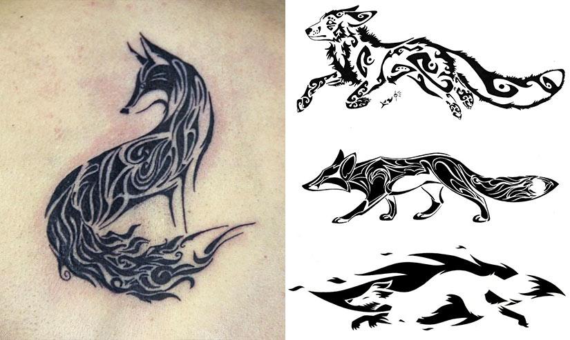 Татуировка лисы и эскизы в кельтском стиле
