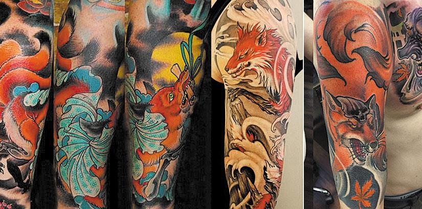 Мужские тату лис в японском стиле