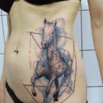 тату лошадь, абстракция