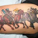 Тату лошадей с джокеями