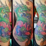 Большая тату лотос и дракон
