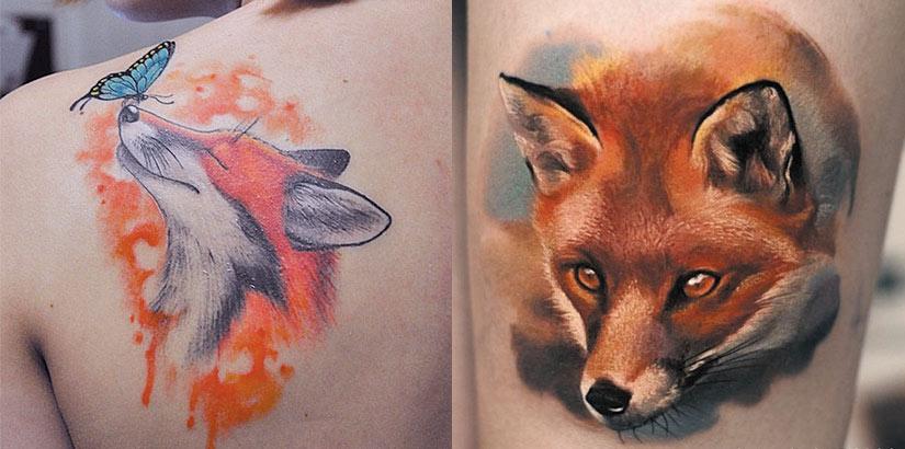 Тату морда лисы с бабочкой, в стиле реализм и в стиле акварель