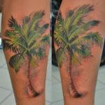 Тату пальмы на икре, реализм