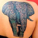Тату слона с узорами на коже