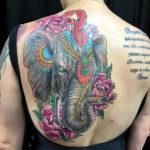 Татуировка головы циркового слона