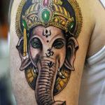 Тату голова слона Ганеша