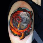 Тату головы слона ирозы