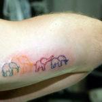 Разноцветная тату слоников держащихся за хвосты
