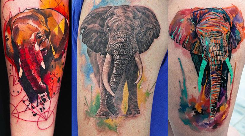 Тату слона в разных стилях от реализма до авангарда
