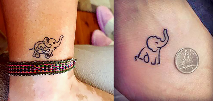 Татуировка слоненка в стиле лайнарт