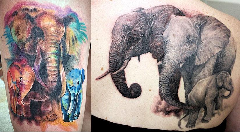 Женская тату слона и слонят