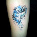 Татуировка с совой, минимальзм в акварели