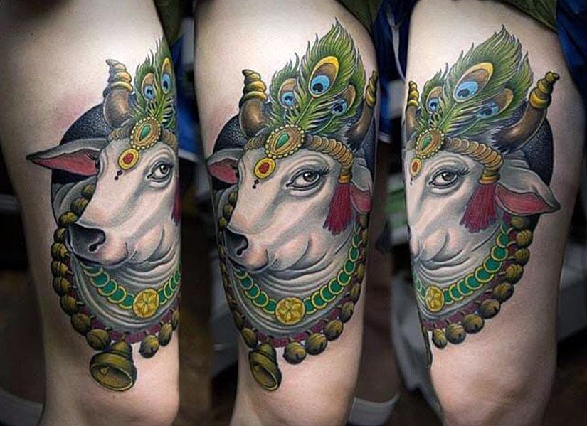 Индуистская священная корова на тату